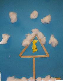 Vogelhuisje van ijslollystokjes