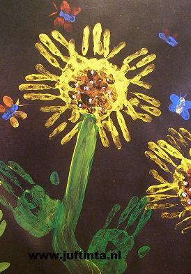 Bloemen vingerverven