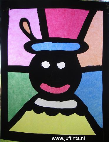 Zwarte Piet met gekleurde achtergrondvlakken