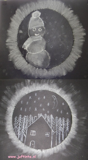 wintertekening zwart-wit