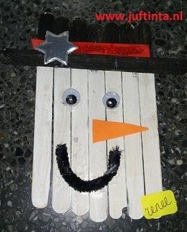 Sneeuwpop Van Lollystokjes Knutselen